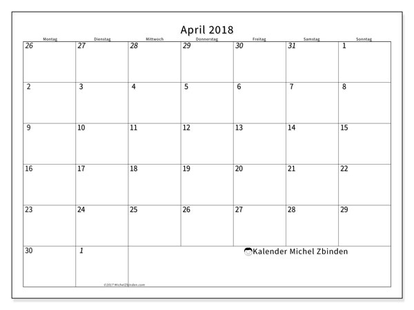Kalender  April 2018, 70MS