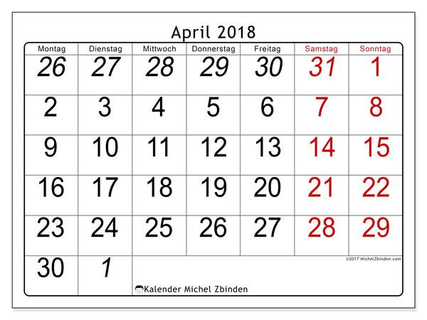 Kalender April 2018 (72MS). Kalender für den Monat zum kostenlosen Ausdrucken.