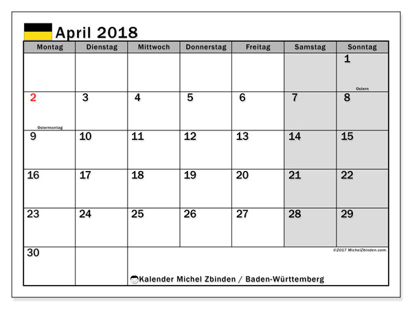 Kalender für April 2018, mit Feiertagen Baden-Württemberg. Kostenlos ausdruckbare Zeitplan.