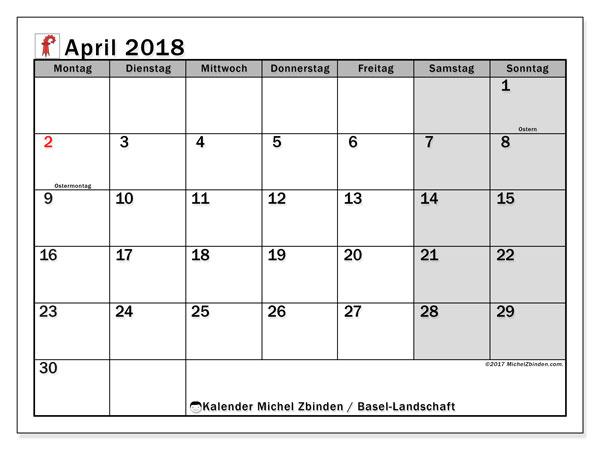 Kalender für April 2018, , mit Feiertagen des Kantons Basel Landschaft. Monatlicher Zeitplan zum kostenlosen ausdrucken.
