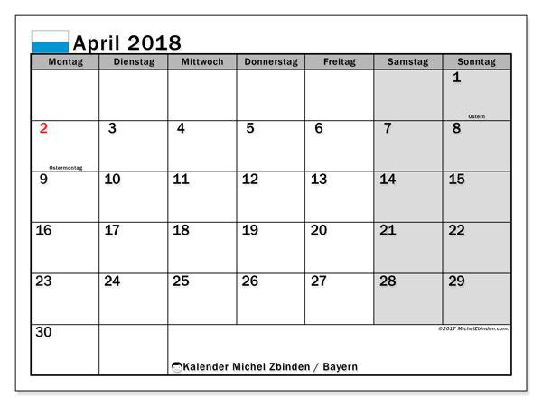 Kalender für April 2018, mit Feiertagen Bayern. Kostenloser Kalender zum ausdrucken.
