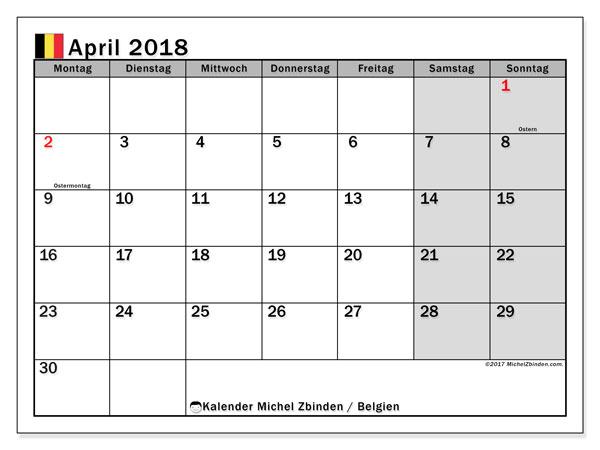Kalender für April 2018, mit Feiertagen in Belgien. Kostenloser Kalender zum ausdrucken.