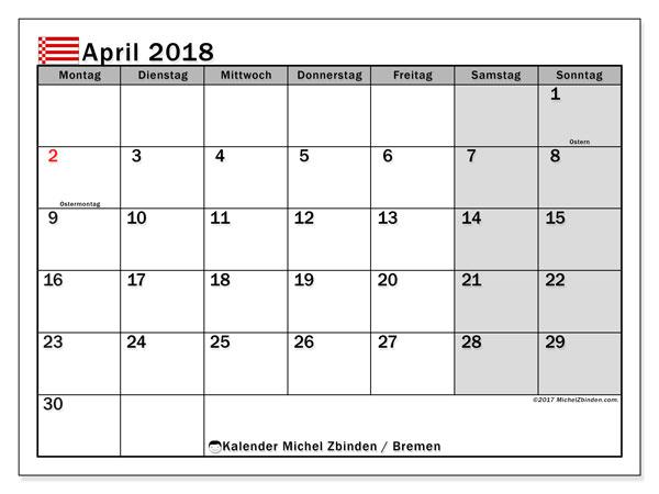 Kalender für April 2018, mit Feiertagen Bremen. Kostenloser Zeitplan zum ausdrucken.