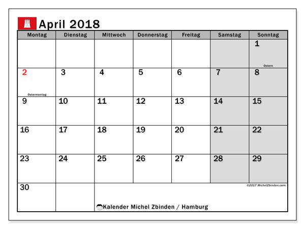 Kalender für April 2018, mit Feiertagen Hamburg. Kostenloser Planer zum ausdrucken.