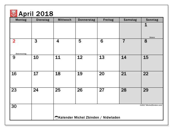 Kalender für April 2018, mit Feiertagen des Kantons Nidwalden. Monatlicher Zeitplan zum kostenlosen ausdrucken.