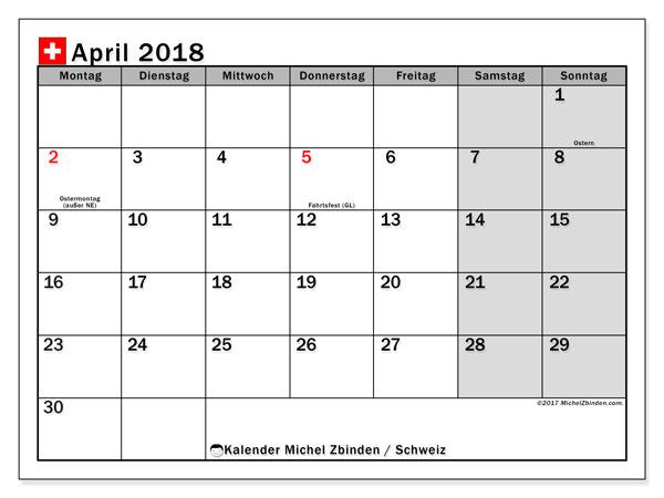 Kalender für April 2018, , mit Feiertagen in der Schweiz. Kostenloser Zeitplan zum ausdrucken.
