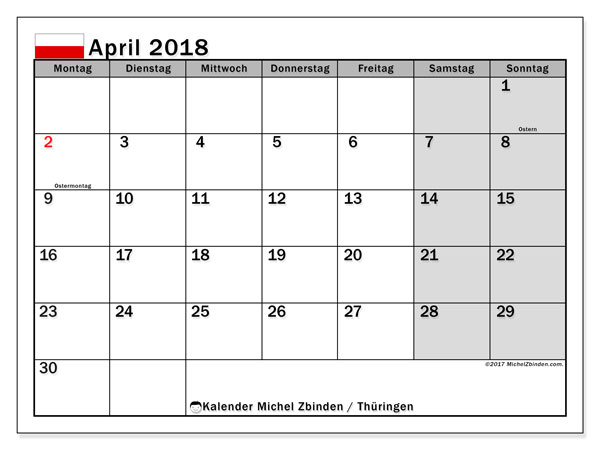 Kalender für April 2018, , mit Feiertagen Thüringen. Zeitplan zum kostenlosen ausdrucken.