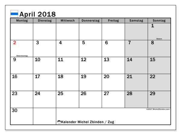 Kalender für April 2018, , mit Feiertagen des Kantons Zug. Monatlicher Kalender zum kostenlosen ausdrucken.