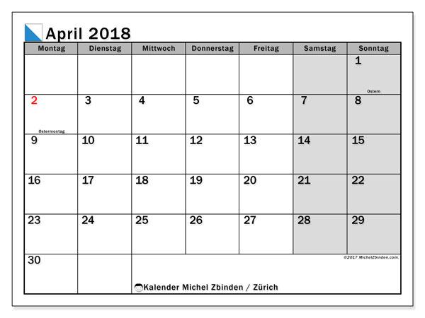 Kalender für April 2018, mit Feiertagen des Kantons Zürich. Kostenloser Kalender zum ausdrucken.