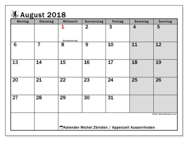 Kalender für August 2018, , mit Feiertagen des Kantons Apenzell Ausserrhoden. Zeitplan zum kostenlosen ausdrucken.
