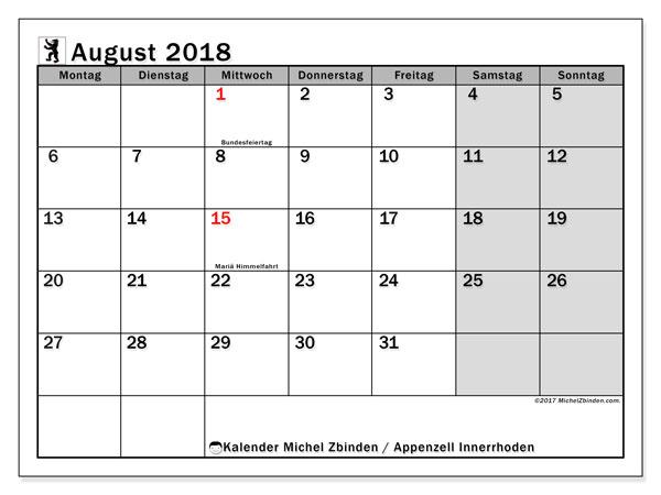 Kalender für August 2018, , mit Feiertagen des Kantons Apenzell Innerrhoden. Kostenloser Zeitplan zum ausdrucken.