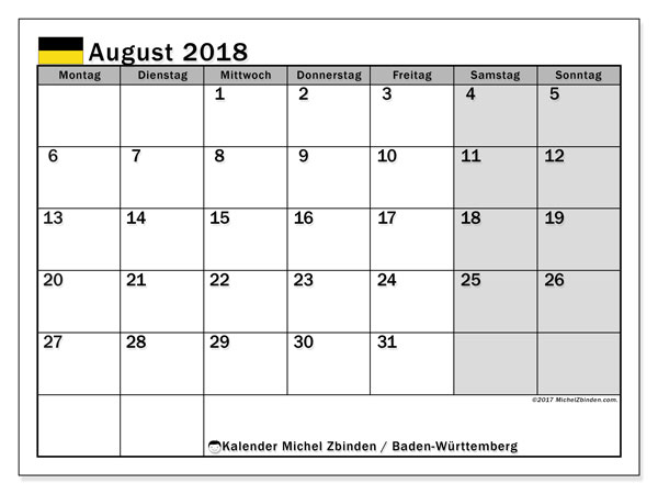 Kalender für August 2018, , mit Feiertagen Baden-Württemberg. Kostenlos ausdruckbare Planer.