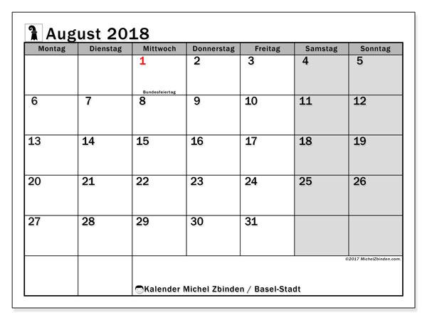 Kalender für August 2018, mit Feiertagen des Kantons Basel Stadt. Kostenloser Kalender zum ausdrucken.