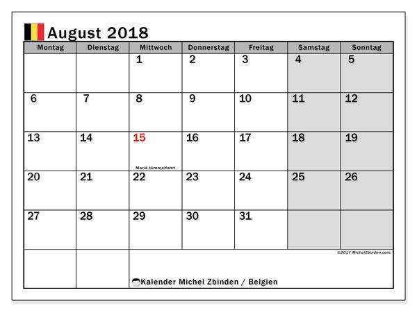 Kalender für August 2018, mit Feiertagen in Belgien. Monatskalender zum kostenlosen ausdrucken.