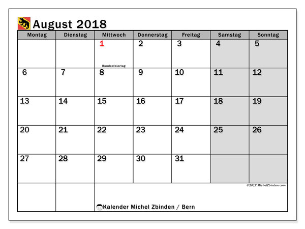 Kalender für August 2018, mit Feiertagen des Kantons Bern. Kostenloser Zeitplan zum ausdrucken.