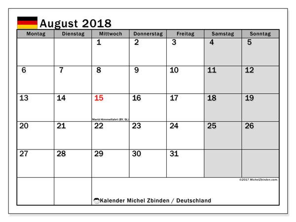 Kalender für August 2018, , mit Feiertagen Deutschland. Kostenloser Zeitplan zum ausdrucken.