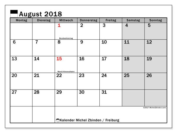 Kalender für August 2018, mit Feiertagen des Kantons Freiburg. Planer zum kostenlosen ausdrucken.