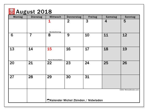Kalender für August 2018, mit Feiertagen des Kantons Nidwalden. Zeitplan zum kostenlosen ausdrucken.