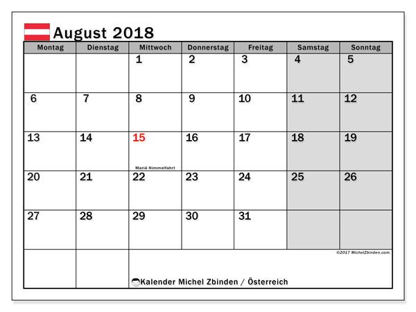 Kalender für August 2018, mit Feiertagen in Österreich. Zeitplan zum kostenlosen ausdrucken.