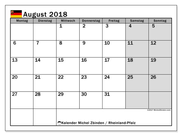 Kalender für August 2018, mit Feiertagen Rheinland-Pfalz. Kostenloser Planer zum ausdrucken.