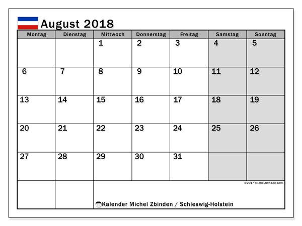 Kalender für August 2018, mit Feiertagen Schleswig-Holstein. Kostenloser Zeitplan zum ausdrucken.
