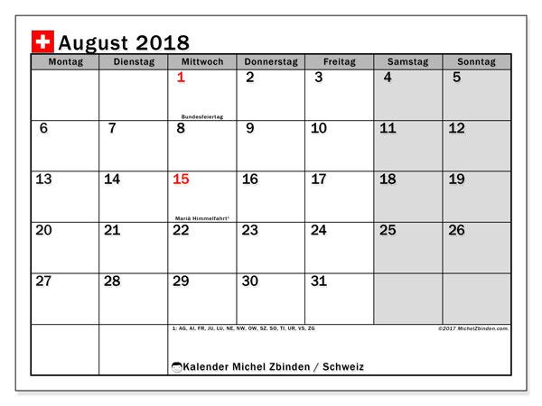 Kalender für August 2018, mit Feiertagen in der Schweiz. Kostenloser Zeitplan zum ausdrucken.