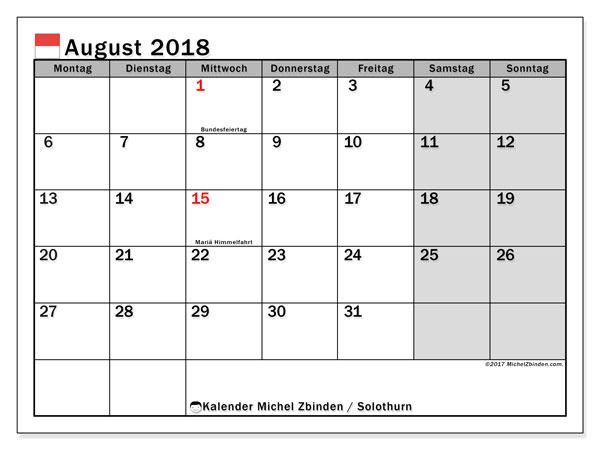Kalender für August 2018, mit Feiertagen des Kantons Solothurn. Monatskalender zum kostenlosen ausdrucken.