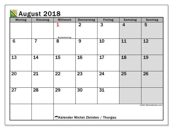 Kalender für August 2018, mit Feiertagen des Kantons Thurgau. Kostenlos ausdruckbare Planer.