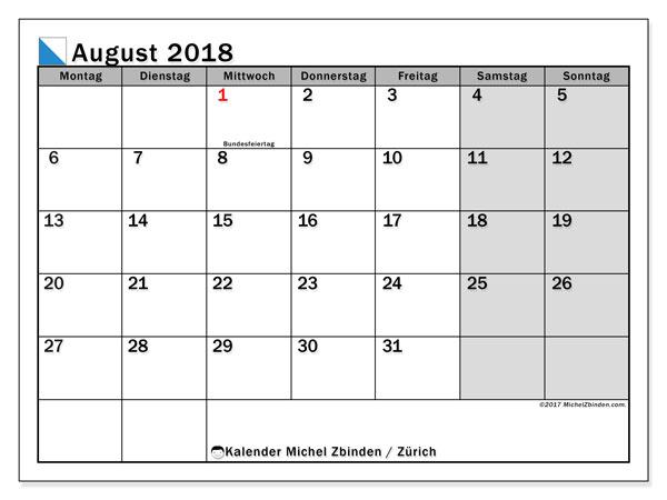 Kalender für August 2018, mit Feiertagen des Kantons Zürich. Kostenloser Kalender zum ausdrucken.