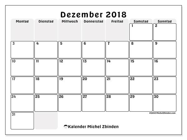 Kalender  Dezember 2018, 44MS