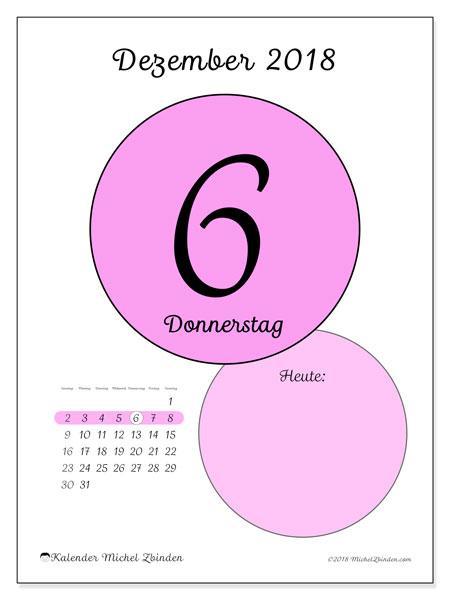 Kalender Dezember 2018 (45-6SS). Kalender für den Tag, um kostenlos zu drucken.