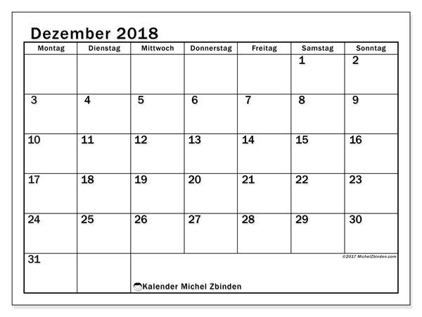 Kalender Dezember 2018 (50MS). Kostenlos ausdruckbare Kalender.