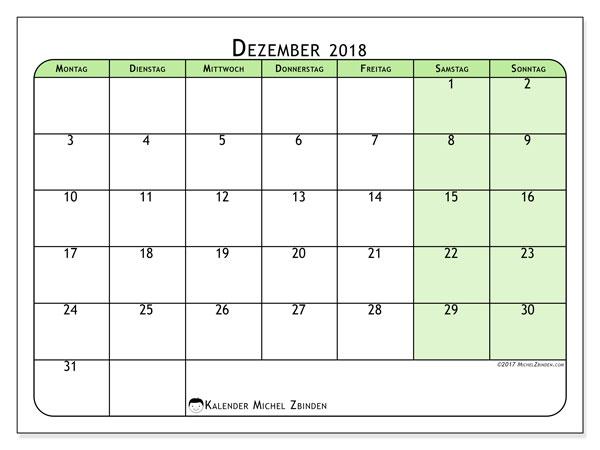 Kalender Dezember 2018 (65MS). Kostenloser Planer zum ausdrucken.
