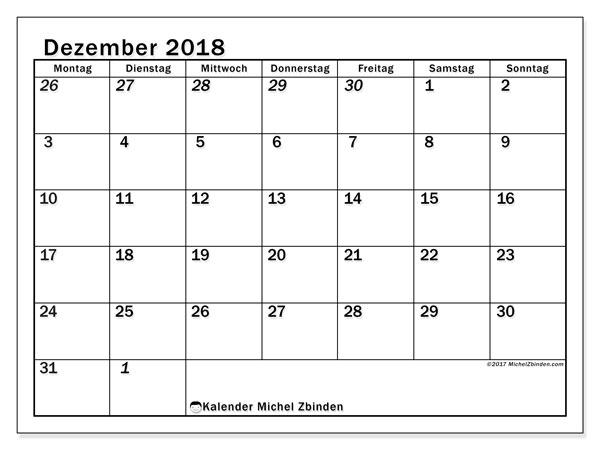 Kalender  Dezember 2018, 66MS