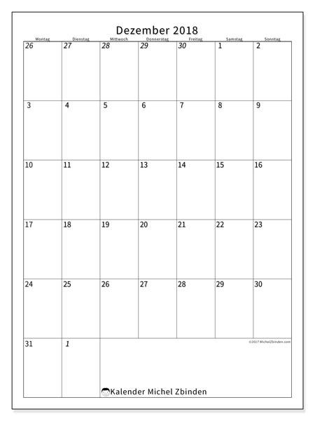 Kalender  Dezember 2018, 68MS