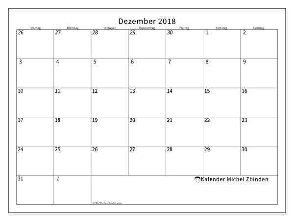 Kalender  Dezember 2018, 70MS