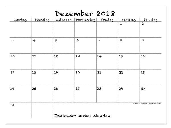 Kalender  Dezember 2018, 77MS