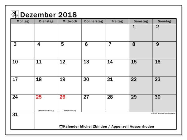 Kalender für Dezember 2018, mit Feiertagen des Kantons Apenzell Ausserrhoden. Zeitplan zum kostenlosen ausdrucken.