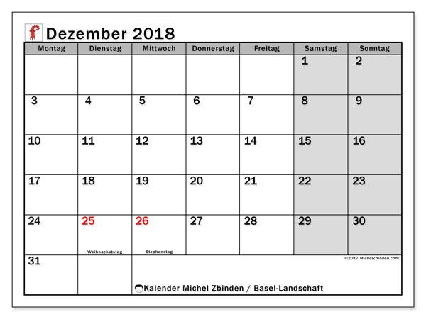 Kalender für Dezember 2018, mit Feiertagen des Kantons Basel Landschaft. Kostenlos ausdruckbare Zeitplan.