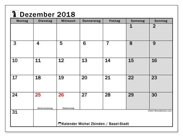 Kalender für Dezember 2018, , mit Feiertagen des Kantons Basel Stadt. Kostenloser Kalender zum ausdrucken.