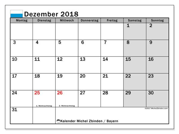 Kalender für Dezember 2018, mit Feiertagen Bayern. Kalender zum kostenlosen ausdrucken.