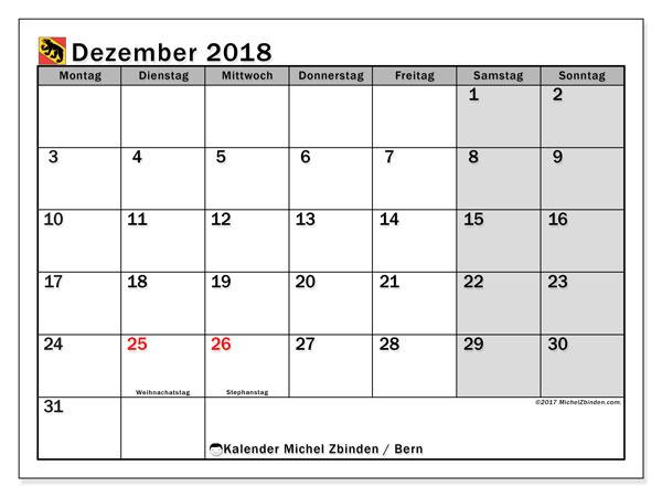 Kalender für Dezember 2018, , mit Feiertagen des Kantons Bern. Monatskalender zum kostenlosen ausdrucken.