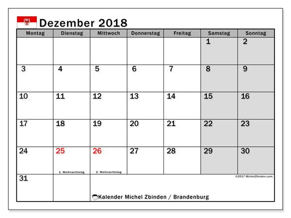 Kalender für Dezember 2018, , mit Feiertagen Brandenburg. Monatskalender zum kostenlosen ausdrucken.