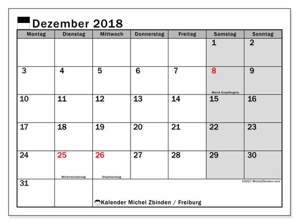 Kalender für Dezember 2018, mit Feiertagen des Kantons Freiburg. Monatlicher Zeitplan zum kostenlosen ausdrucken.