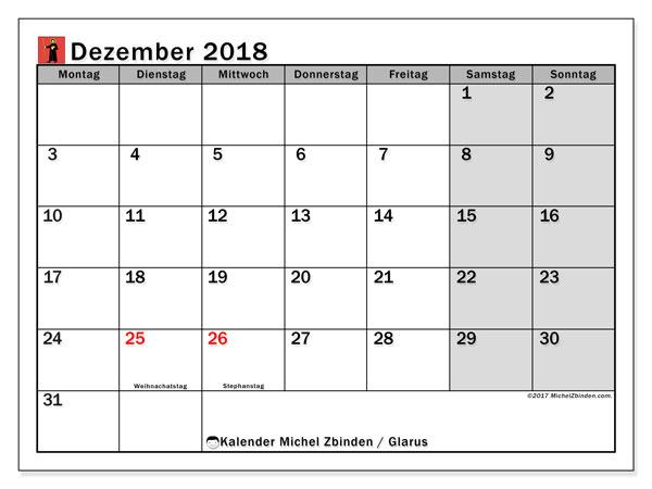 Kalender für Dezember 2018, mit Feiertagen des Kantons Glarus. Kostenloser Kalender zum ausdrucken.