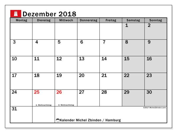 Kalender für Dezember 2018, mit Feiertagen Hamburg. Kostenloser Zeitplan zum ausdrucken.