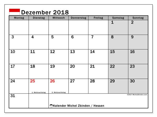 Kalender für Dezember 2018, , mit Feiertagen Hessen. Kostenloser Planer zum ausdrucken.