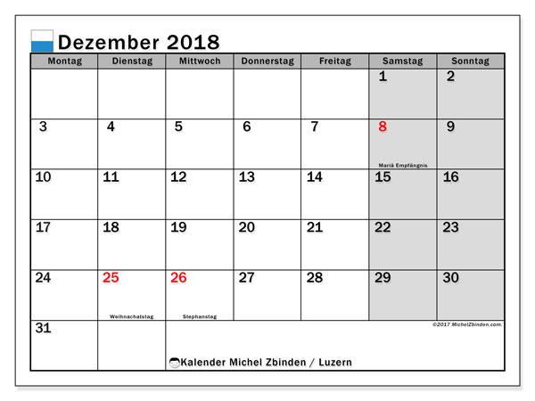 Kalender für Dezember 2018, , mit Feiertagen des Kantons Luzern. Kostenloser Kalender zum ausdrucken.