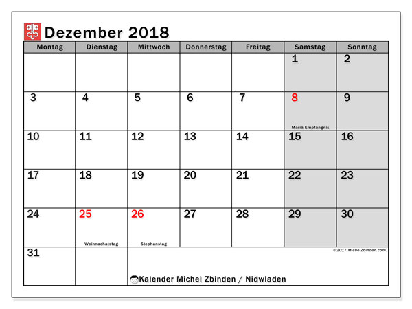Kalender für Dezember 2018, mit Feiertagen des Kantons Nidwalden. Kostenloser Kalender zum ausdrucken.