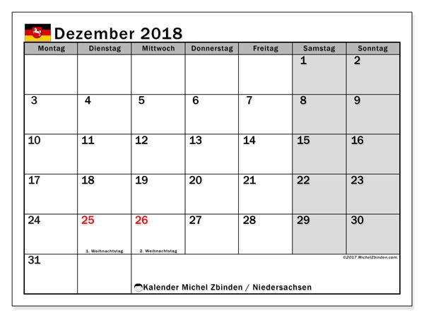 Kalender für Dezember 2018, mit Feiertagen Niedersachsen. Monatlicher Kalender zum kostenlosen ausdrucken.